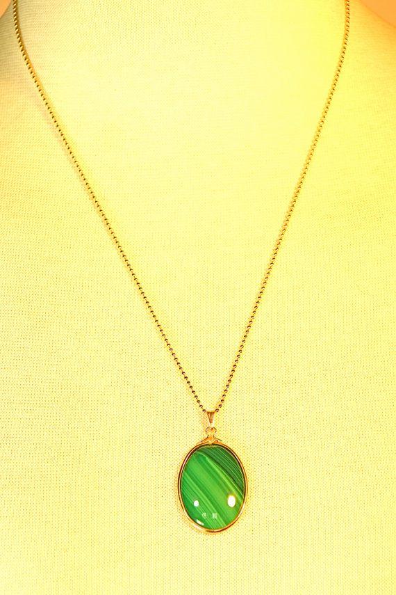 Malahite Green Stone on Gold Tone Ball Chain by vintagebycassandra, $15.00