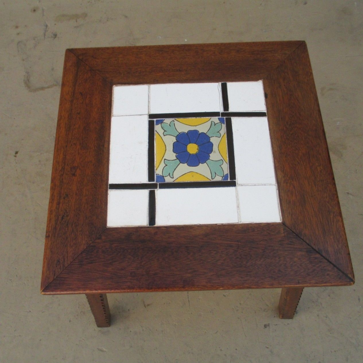 Antique Mission Spanish Tile Top Accent Table   EBay