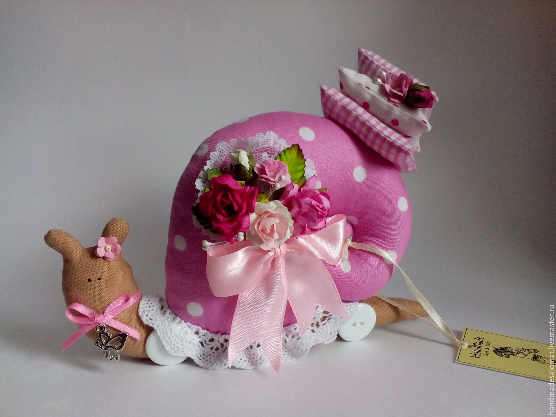 Купить Улиточка весенняя - розовый, улитка Тильда, улитка, текстильная улитка, игрушка улитка, тильда