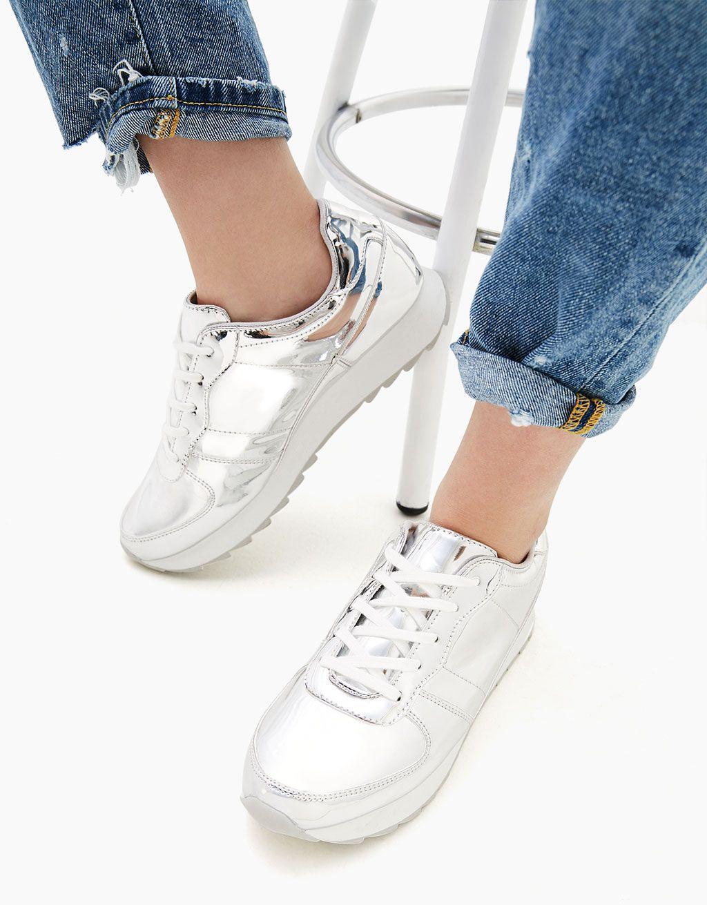Sznurowane Metalizowane Buty Sportowe Buty Bershka Poland Shoes Tretorn Sneaker Vivi Fashion