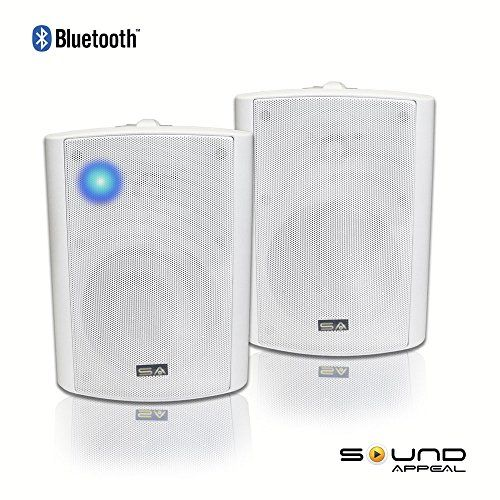Bluetooth 5 25 Indoor Outdoor Weatherproof Patio Speakers White Pair By Sound Appeal Sound Outdoor Weatherproof Weatherproofing Best Home Theater Speakers