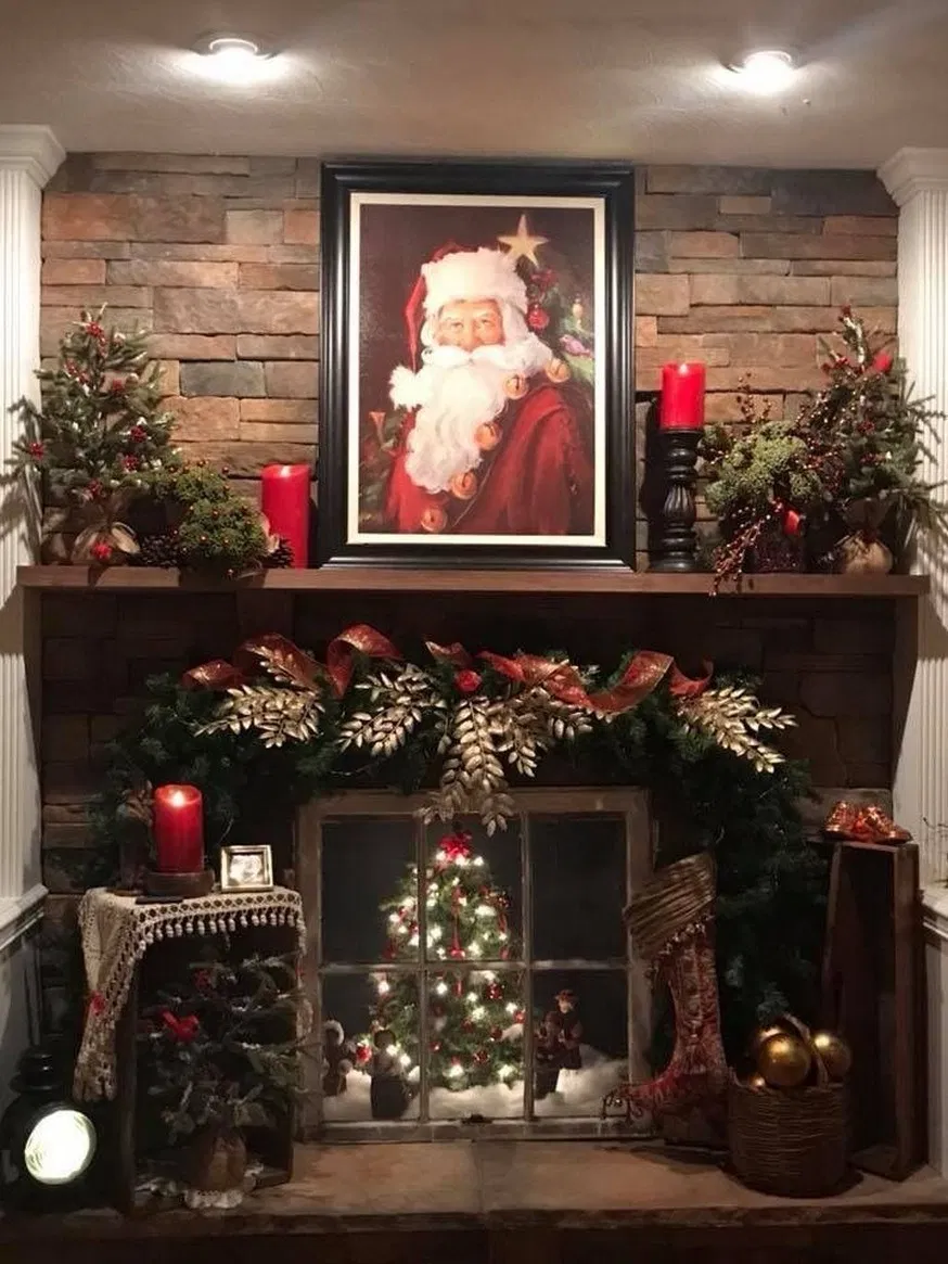 Christmas Decor Ideas For Your Table Mantle And Wall Using Garland And Candl Christmas Mantel Decorations Diy Christmas Fireplace Christmas Decorations Rustic