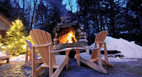 Nordic Spa And Finnish Sauna Scandinave Spa Mont Tremblant Mont Tremblant Outdoor Fireplace Beautiful Patios