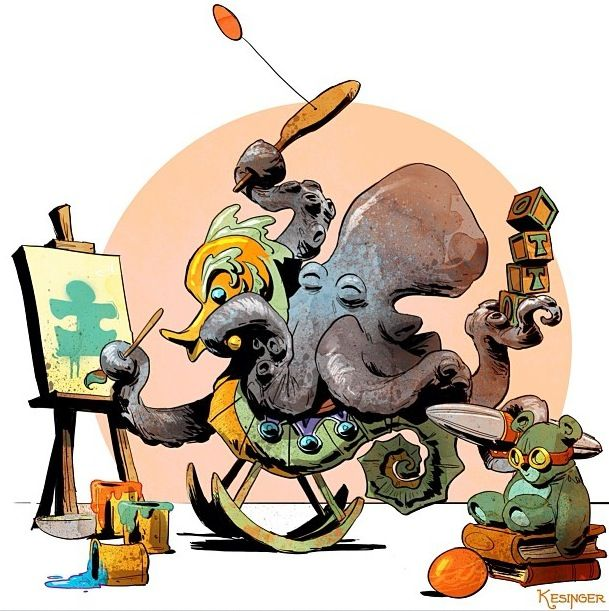 Commission by Brian Kesinger for an autistic children's play center. (I need that rocking seahorse. NEED IT.)