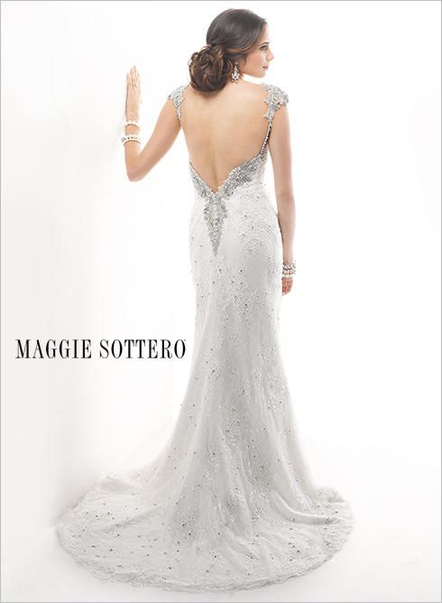 Maggie Bridal By Sottero Wedding Dress Lace Low Back Gown Cap