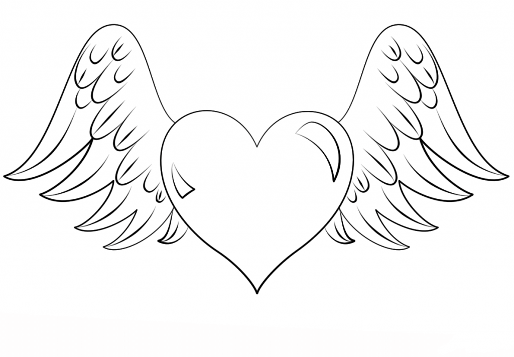 Hearts Coloring Pages For Adults Best Coloring Pages For Kids Heart Coloring Pages Angel Coloring Pages Wings Drawing