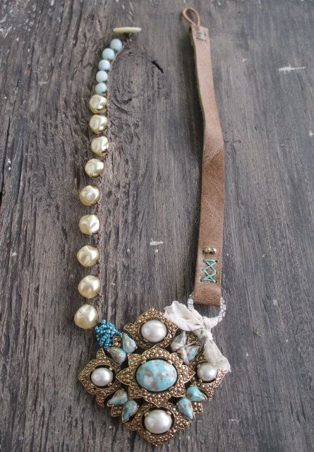 Leather crochet pearl necklace Le Grand faux pearl by slashKnots