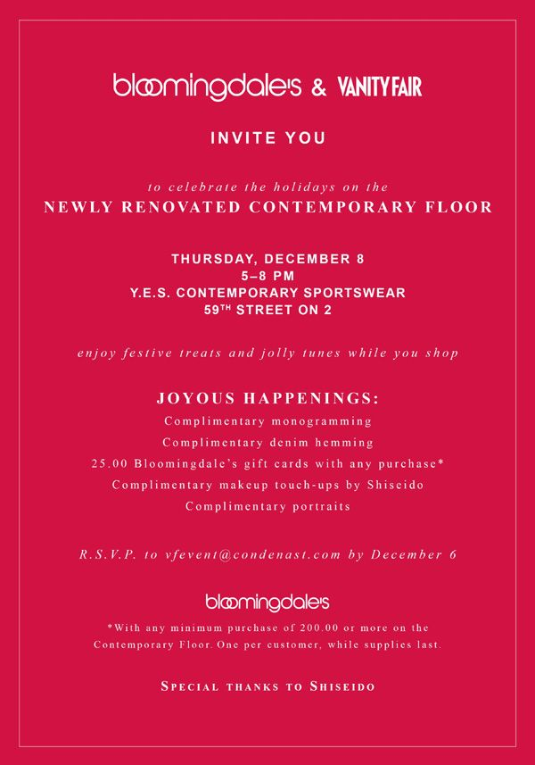 bloomingdales vanity fair holiday event evite stationery design