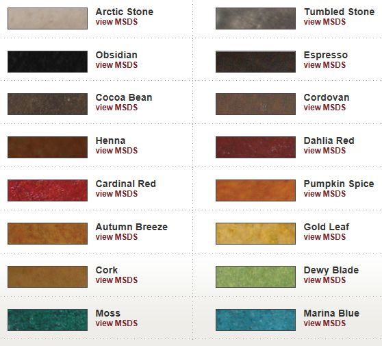 Color chart features  and  semi transparent decorative stains for concrete water based also rh pinterest