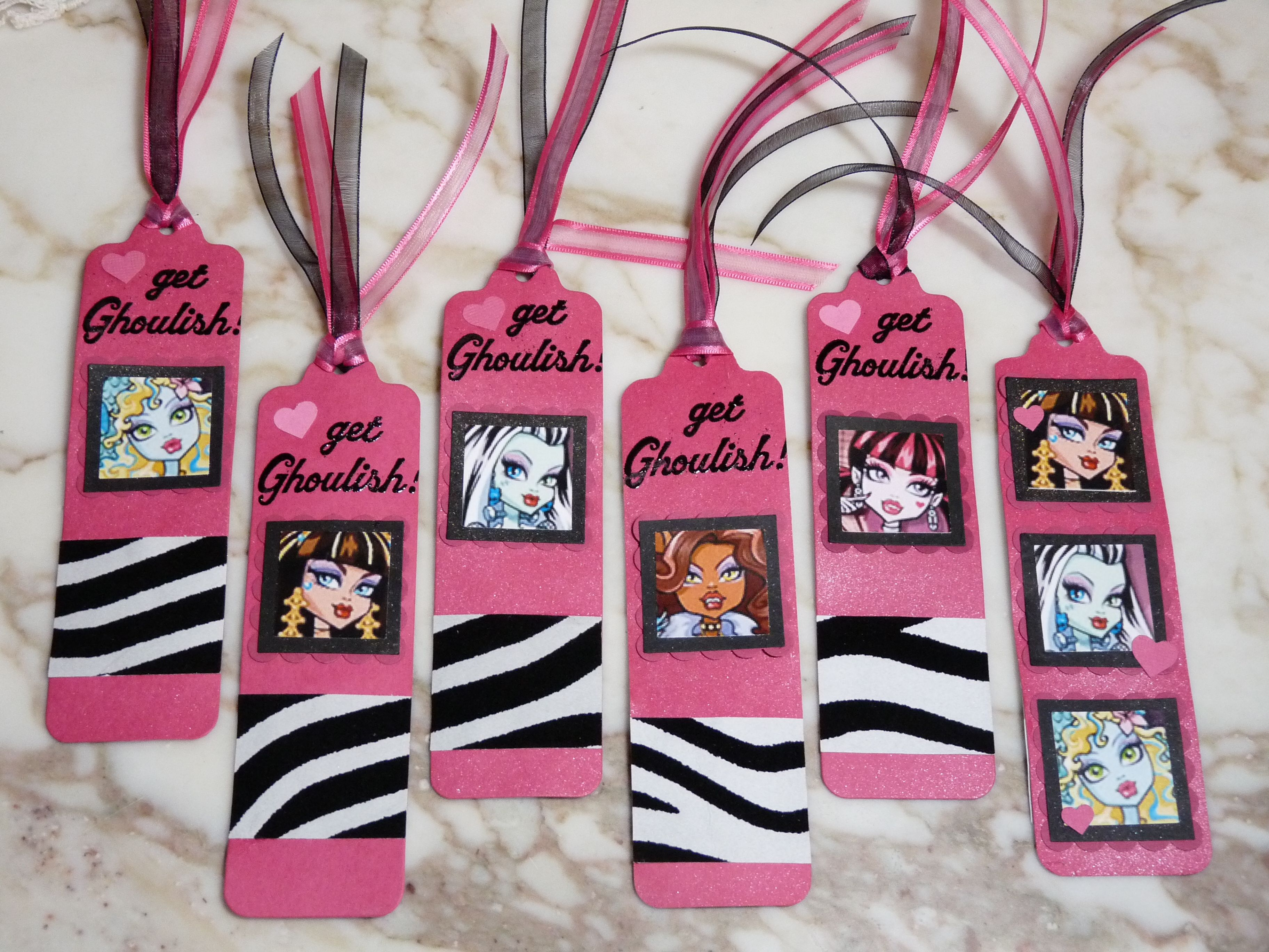 Monster High bookmarks party favors made with the PTI bookmark