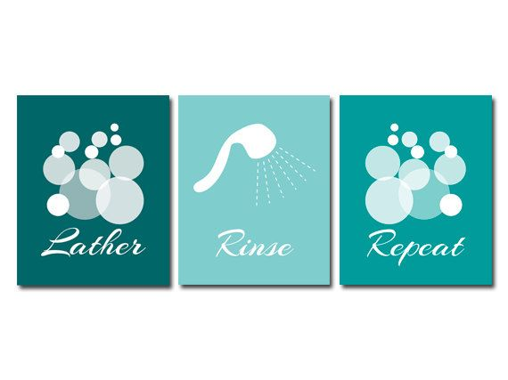 Bathroom Wall Art Prints Or Canvas Lather Rinse Repeat Aqua Bathroom Decor Modern Bathroom Art Print Set Of 3 Home Decor Bath1