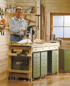 werkbank selbst bauen stauraum und rollcontainer. Black Bedroom Furniture Sets. Home Design Ideas