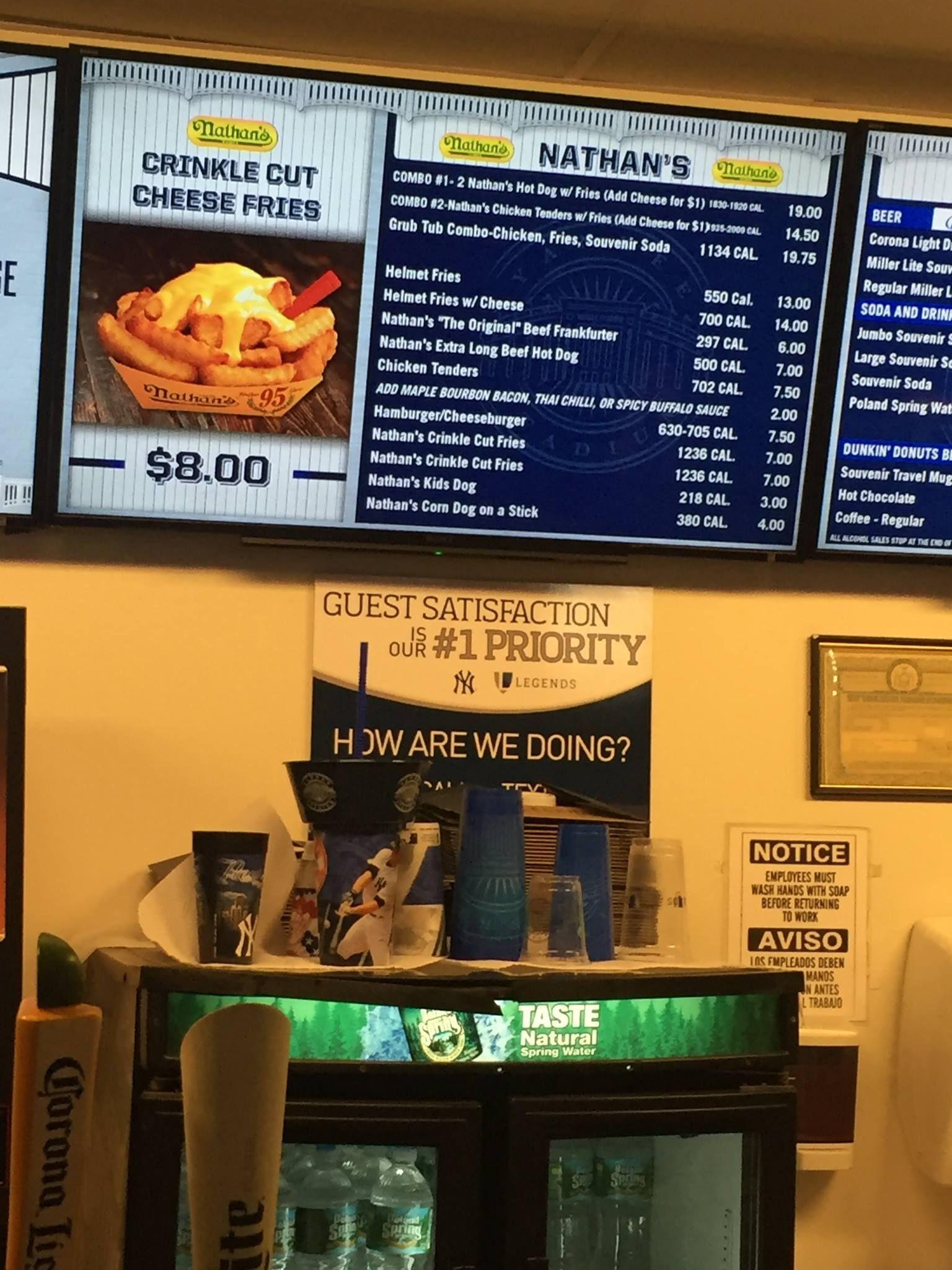 Grub Tub On Display Yankees Menu Board Cheese Fries Hot Chicken Grubs