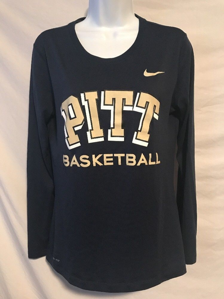 a3f20251 Nike Dri Fit Women Medium Pitt Basketball Navy Blue Long Sleeve Shirt | eBay