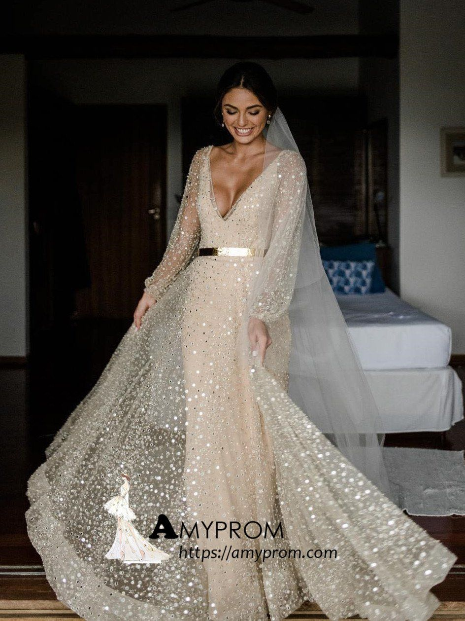 9adc45ae13a Sparkly Lace Wedding Dresses V neck Long Sleeve Romantic Wedding Dress  Bridal Gowns AMY2864