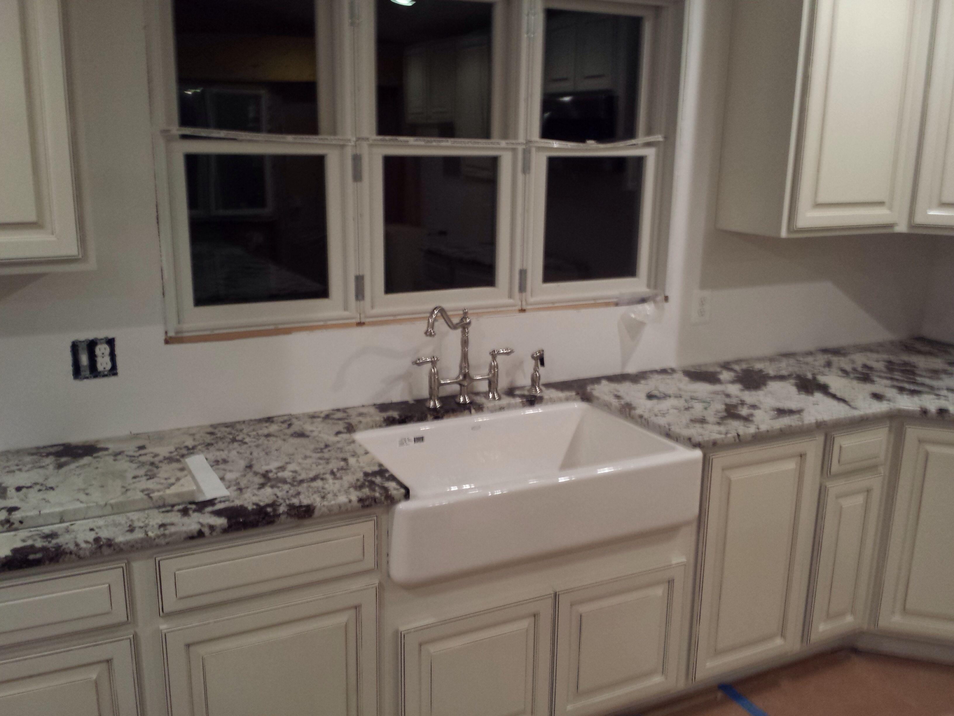 Granite Kitchen In Royal White White Cabinets Farm Sink White