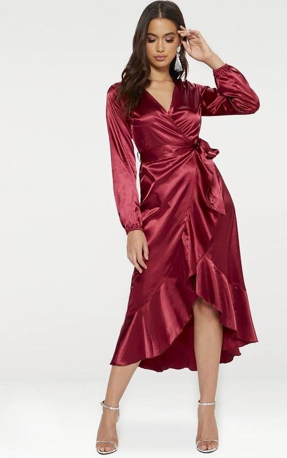 ece1e4962b35 Dark Red Wrap Plunge Frill Detail Long Sleeve Satin Dress