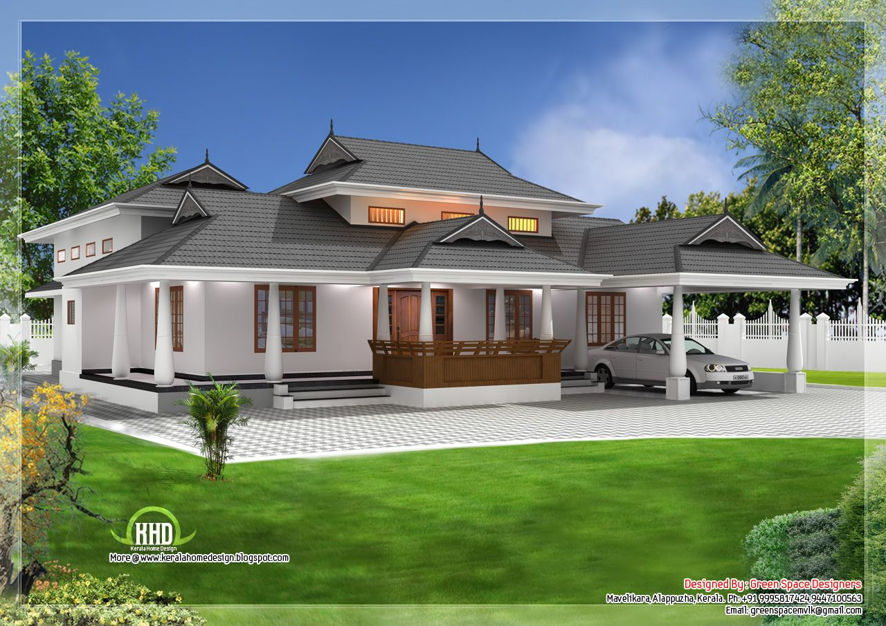 Traditional Single Storey Ed Naalukettu With Nadumuttam Courtyard House Plans Kerala House Design House Design Pictures
