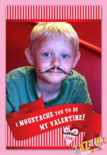 Digital file (4x6 high resolution jpg) personalized photo moustache valentine card DIY printable.   #moustache #stache #valentine #diy #printable  www.zazazoocards.com