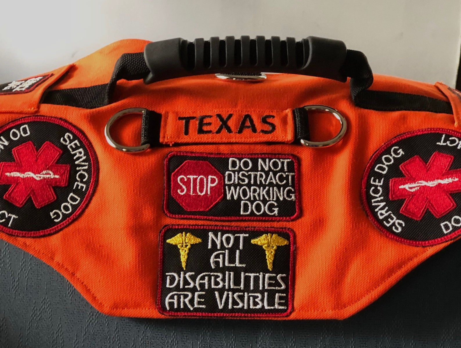 Free Shipping Deluxe Canvas Service Dog Vest. Includes 7