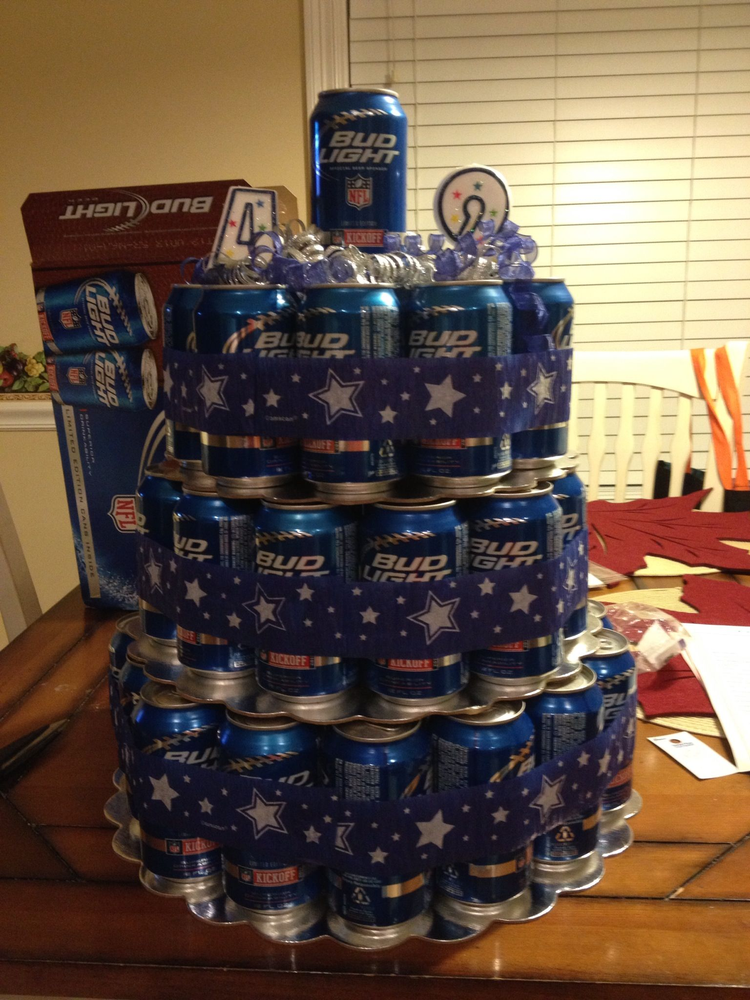 Beer Can Cake With Dallas Cowboys Ribbon This Was My