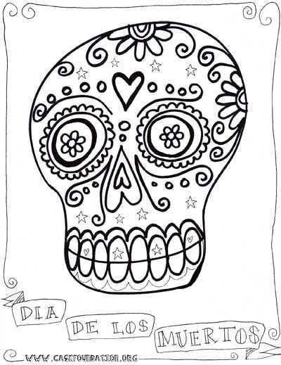 doodled dia de los muertos sugar skull coloring pages for the kids to color in with