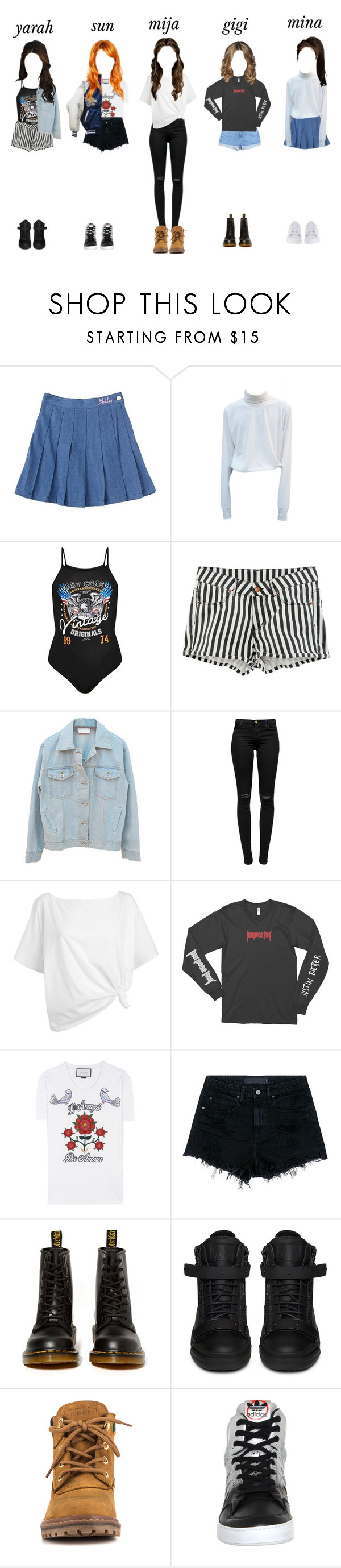 """""""ARIA // JYP Audition"""" by ariaofficial ❤ liked on Polyvore featuring H&M, J Brand, Red Herring, Justin Bieber, Gucci, Alexander Wang, Dr. Martens, Giuseppe Zanotti, Tommy Hilfiger and adidas"""