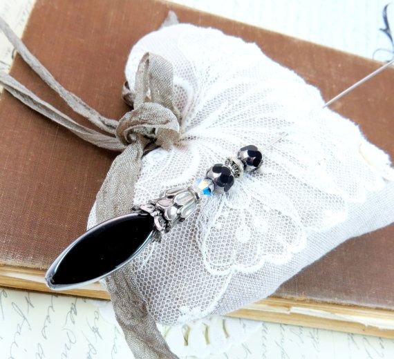 Hat Pin Black Gothic Renaissance, dramatic, silver and crystal Victorian Hatpin, Scarf Brooch