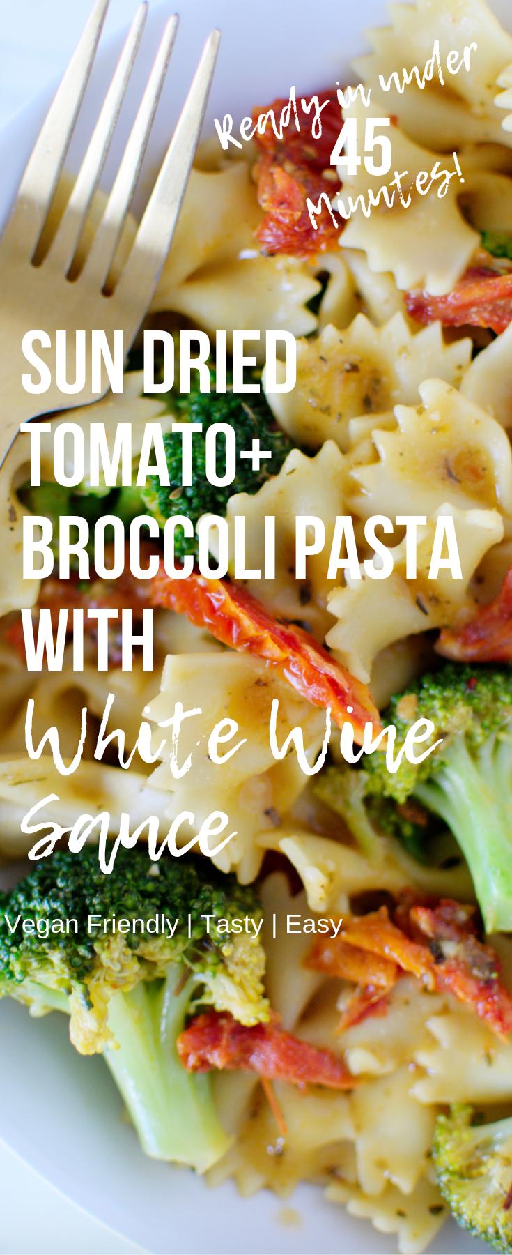 sun dried tomato broccoli pasta with white wine sauce recipe my vegan kitchen wine pasta on hebbar s kitchen white sauce pasta id=54538