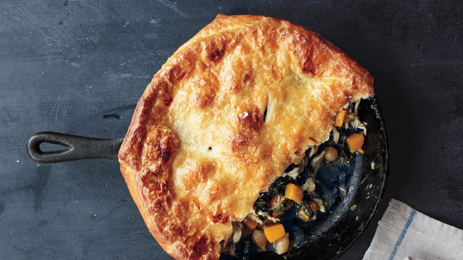 Skillet Chicken Pot Pie with Butternut Squash Recipe  In this chicken and butternut squash pot pie recipe all you do is cover with puff pastry and wait