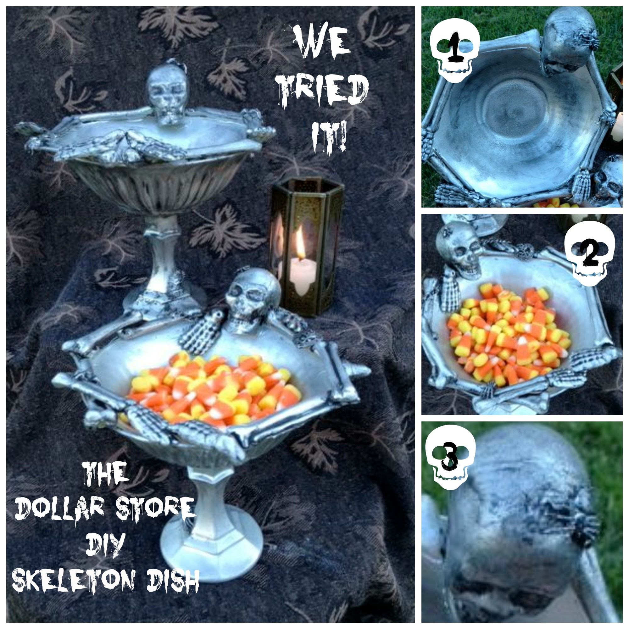 DIY Dollar Store Skeleton Dish. Halloween hacks