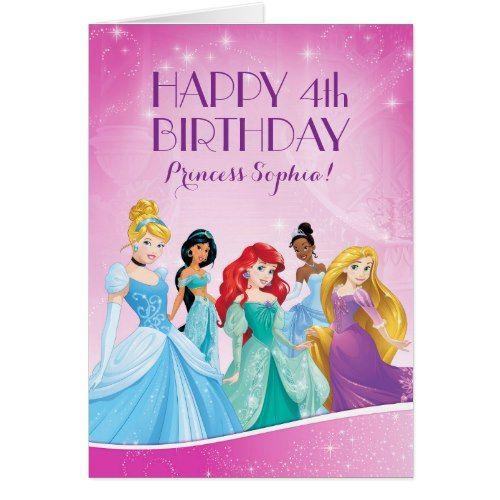 Disney Princess Happy Birthday Card Princess Birthday Party