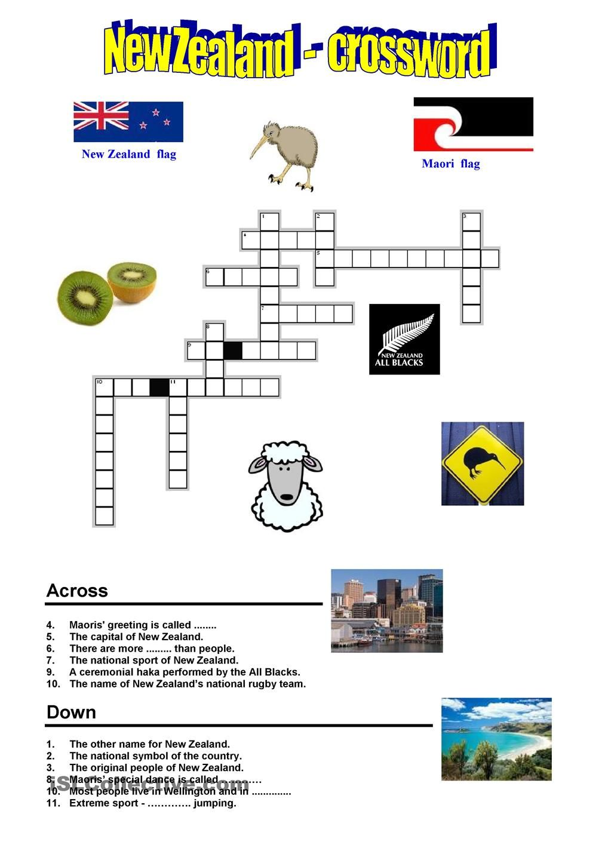 New Zealand Crossword Preschool Pinterest Worksheets