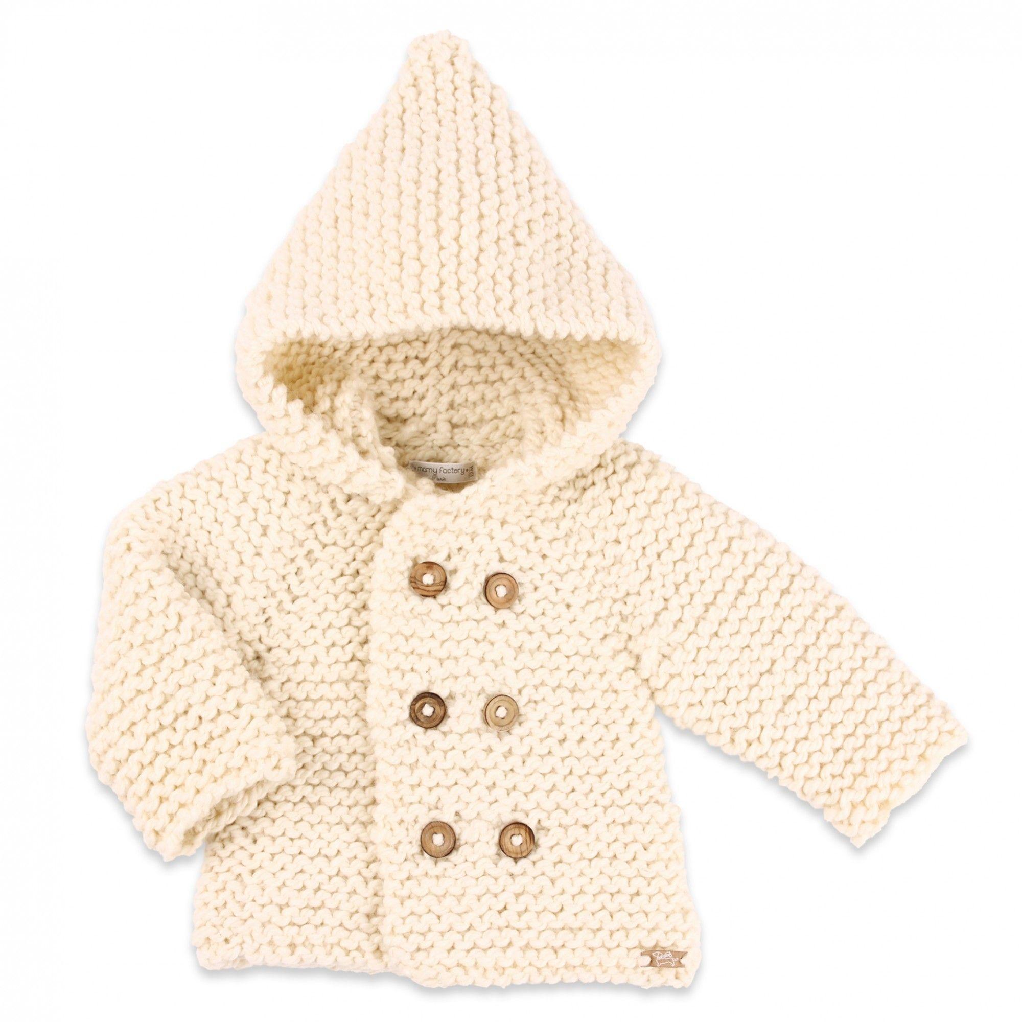 a6bce93af32d1 Les tricots de mamy - Manteau bébé enfant gris chiné et marron en laine et  alpaga - Mamy Factory