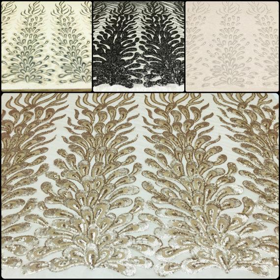 Peacock Stil Stickerei Pailletten Stoffe auf von fancyfabricsonline