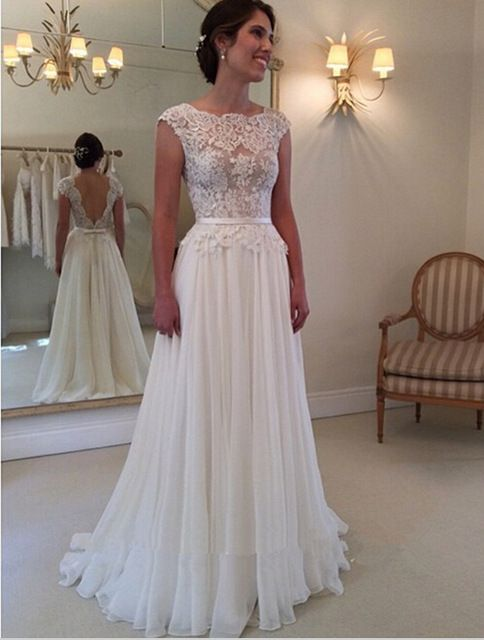 Free shipping elegant lace top chiffon wedding dresses for Best lace wedding dresses