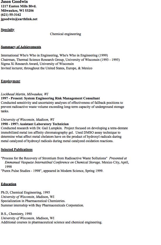 Pharmaceutical Engineer Sample Resume Chemical Resume Sample  Httpresumesdesignchemicalresume .