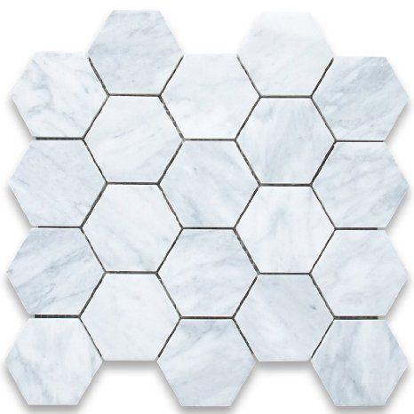 Amazon.com: Carrara White Italian Carrera Marble Hexagon Mosaic Tile 3 inch Honed: Home Improvement