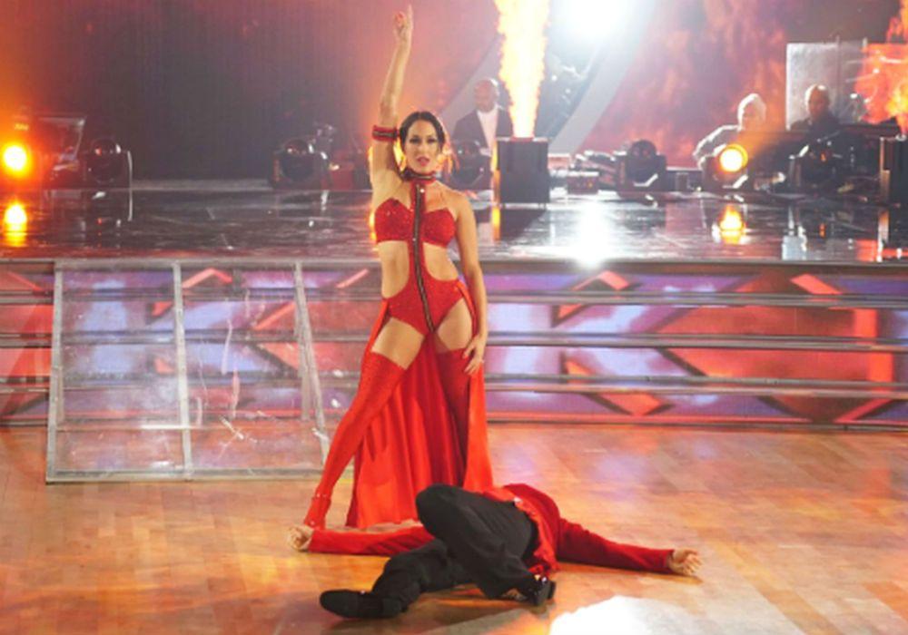 Nikki Bella Body Slams Artem Chigvintsev On 'Dancing With The Stars Premiere'