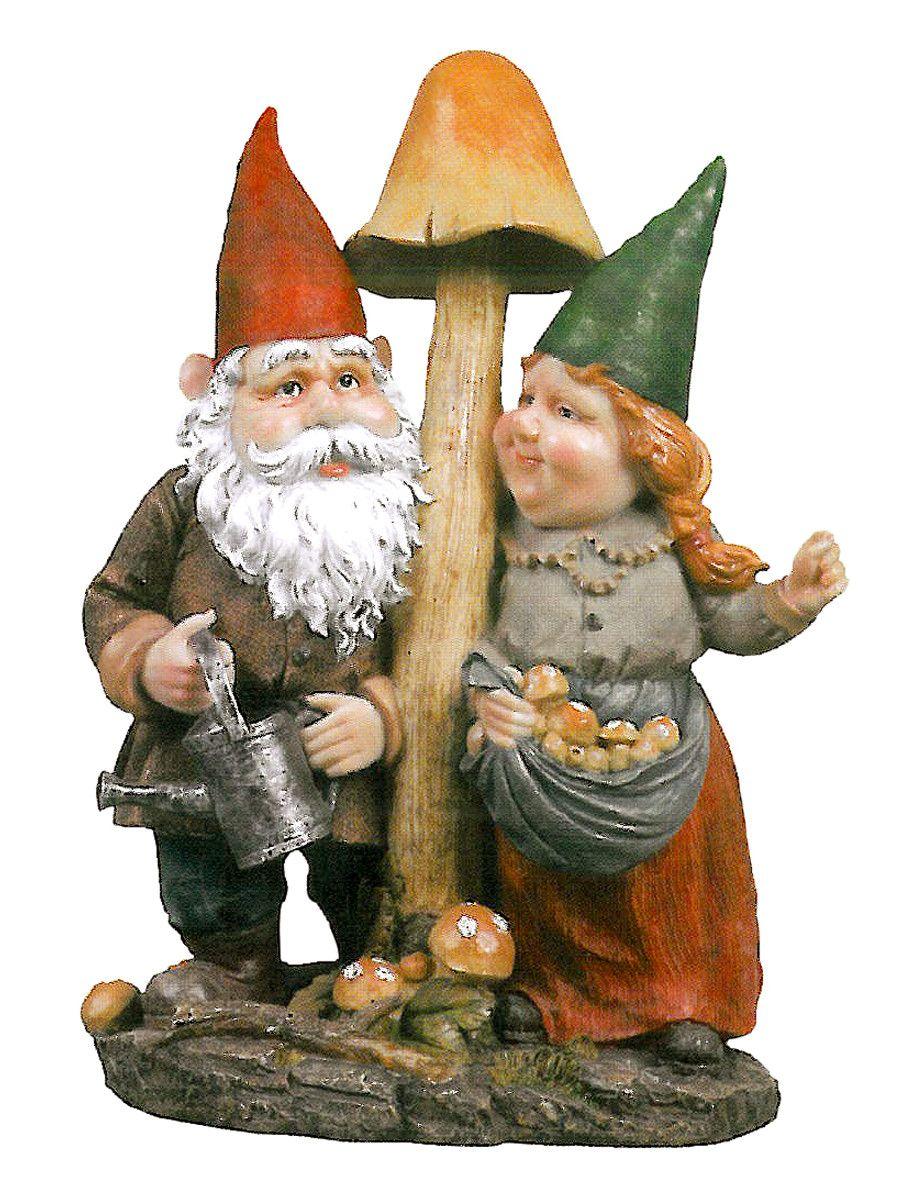 Gnome Garden: Mushroom Hunters Garden Gnome Statue