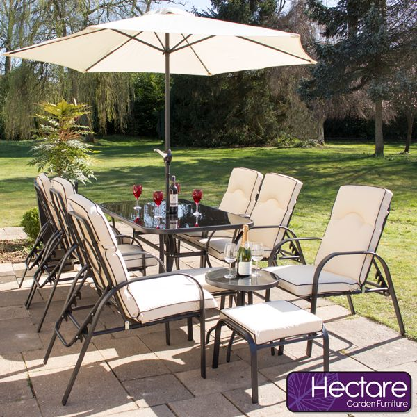 Hadleigh Reclining 6 Seater Garden Dining and Leisure Furniture Set ...