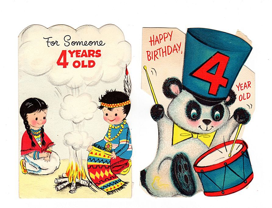 4th Birthday Cards Four Year Old Lot Of 2 Indians Panda Bear Boy And Girl Drum Flocked Kids Vintage Paper By Vintagebarrel On