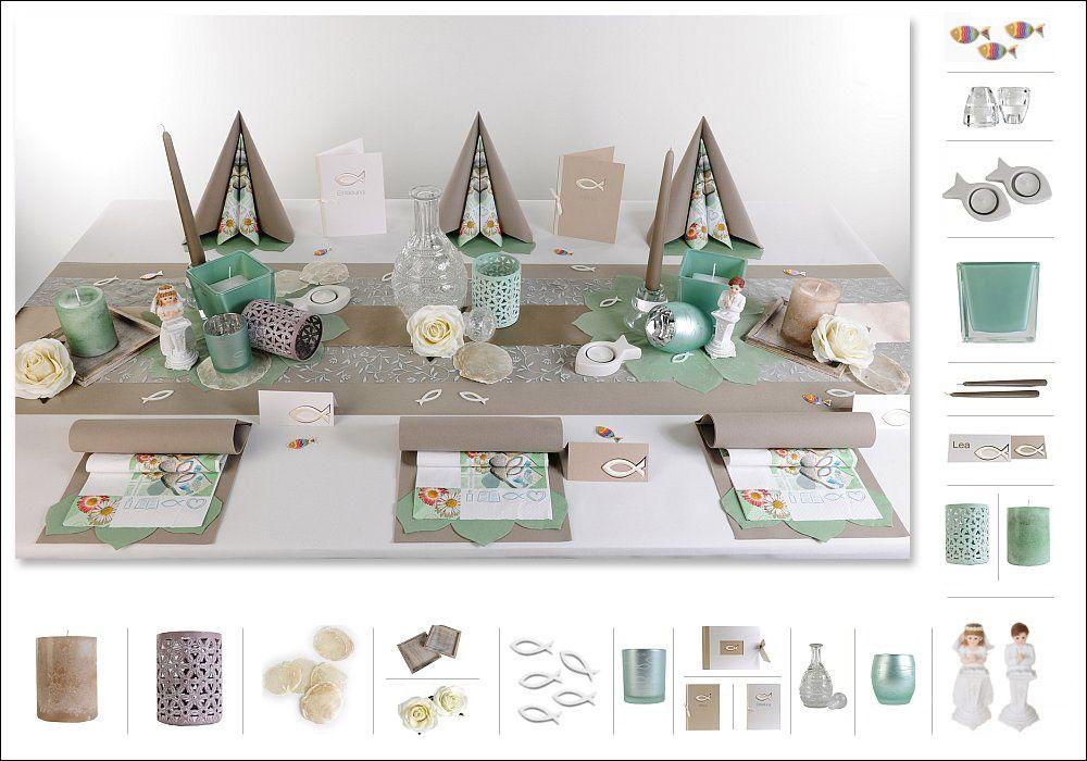 vertr umte tischdeko zur kommunion konfirmation in taupe. Black Bedroom Furniture Sets. Home Design Ideas