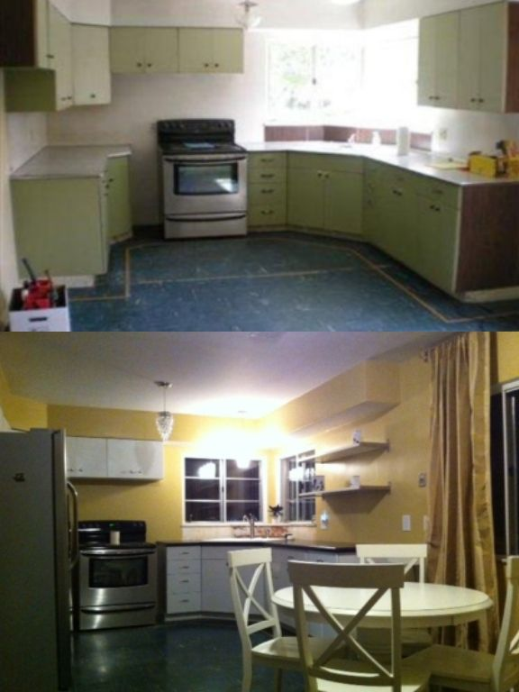 1950u0027s Kitchen Re Do On A Budget: Spray Painted Metal Cabinets, Paint, New  Countertops, Sink, Vintage Vinyl Floors Buffed, New Cabinet Hardware, ...