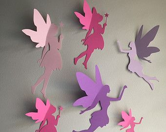 8 Paper Fairy Wall Art 3d Decal Whimsical Room Decor Fairies
