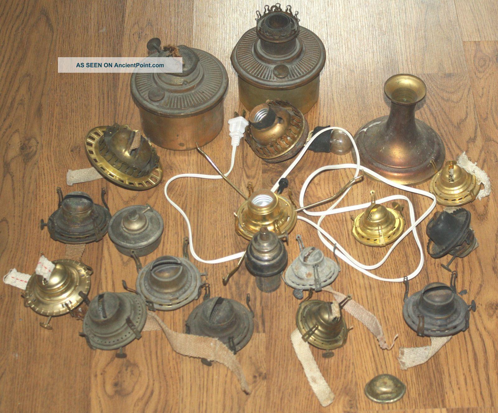 Lamp parts identification pinterest kerosene lamp vintage assorted vintage antique oil kerosene lamp lantern repair parts mozeypictures Image collections