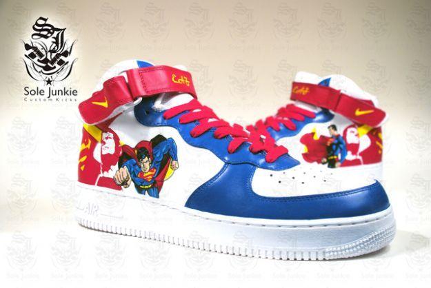 d46f0f8b07 Custom Air Force 1, Air Force Ones, Nike Air Force, Sneaker Art, Custom  Sneakers, Boots Online, Red Shoes, Air Jordans, Superman
