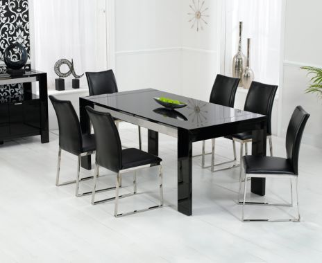 Cannes High Gloss Dining Table In Black, Round Black High Gloss Dining Table