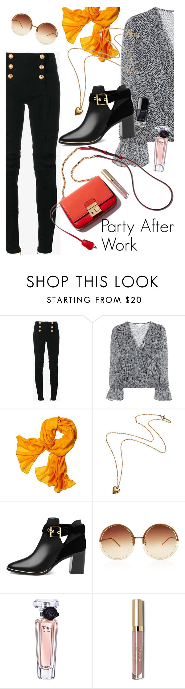 """""""its a cold one!"""" by elliewriter ❤ liked on Polyvore featuring Balmain, Diane Von Furstenberg, Reed Krakoff, Ted Baker, Linda Farrow, Lancôme and Stila"""