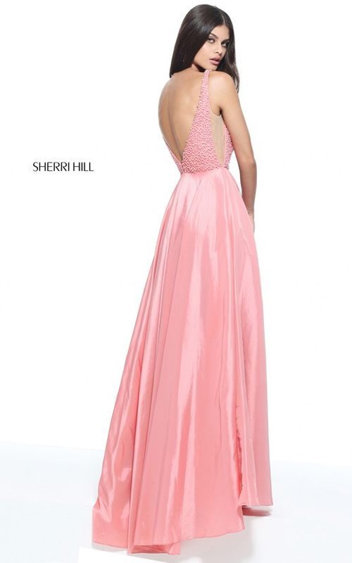 Coral Sherri Hill 51182 A Line Beaded Long Prom Dress